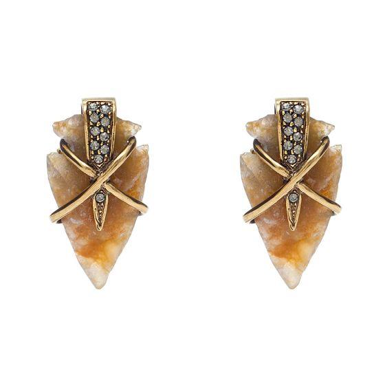 BRINCO-BOND-MINI--R--17800-Banho-Ouro-Vintage-com-10-cristais-Black-Diamond-e-pedra-Silex